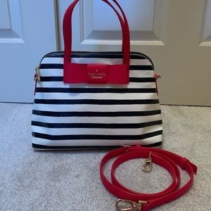 Kate Spade Black/White Stripe with Red Accents